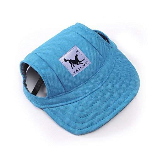 IBLUELOVER Gorros de béisbol para mascotas de verano con visera pequeña para perro o gato para deportes al aire libre, para cachorro, oreja, agujeros para el sol, sombrero para el sol, elástico, correa de piel para el cuello, 3 colores, 2 tamaños disponibles azul azul extra-large