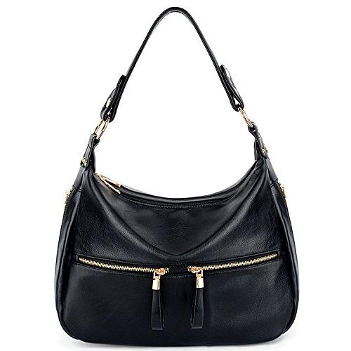 UTO Damen Handbag PU Leder Reißverschluss Fach Henkeltasche Hobo Stil Schultertasche braun schwarz
