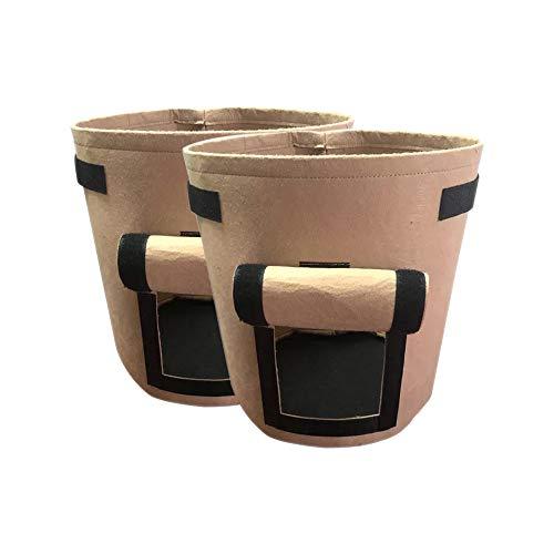YOFASEN Gemüse Kartoffel Pflanzsack - 26 L / 7 Gallone Weiche Pflanztopf-Wachsende Taschen Pflanzentasche mit 1 Fenster, 2er-Pack, Braun 1 Pack-tasche
