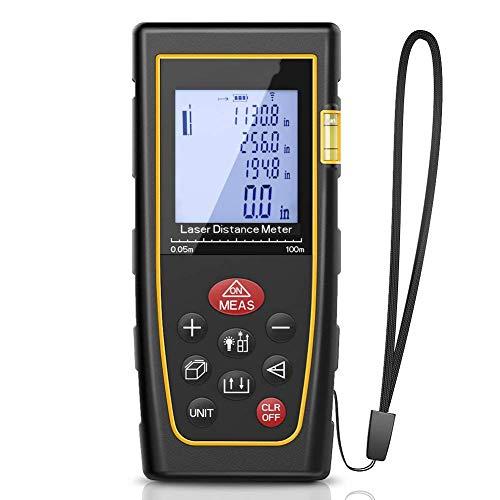XASY Laser-Entfernungsmesser Advanced Distanzmessgerät,Messbreich 0,05~100m/±2mm für die Inneneinrichtung, Oberflächenmessung, Volumen, Objekte, Selbstkalibrierung Stummschalte-Funktion 100m