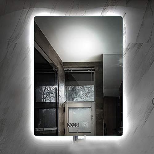 Bathroom Mirror Miroir Salle De Bain Avec Lumiere LED Vanite Argent Sans Cadre