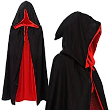 Vampiro Capa de vampiro Cabo reversible con capucha negro rojo Cabo 90cm 170cm larga capa con capucha para adultos de disfraces de Halloween Drácula del Cabo (90cm de largo)