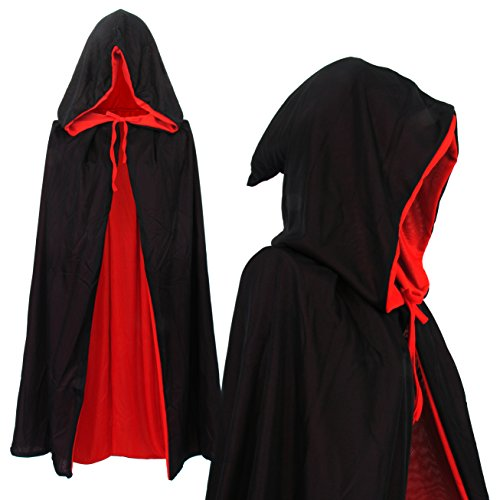 Vampir Umhang Wendeumhang Vampire mit Kapuze schwarz rot Cape 90cm lang für Kind oder Erwachsene Halloween Kostüm Dracula Mantel (Halloween Requisiten Piraten)