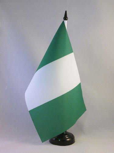 AZ FLAG TISCHFLAGGE Nigeria 21x14cm - NIGERIANISCHE TISCHFAHNE 14 x 21 cm - flaggen