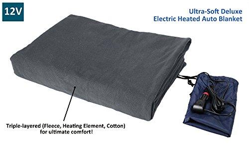 ObboMed SH-4210g Ultra suave Deluxe eléctrico lujo cómodo forro polar manta climatizada viajes camión, con conector de mechero de Premium para automóvil, vehículo, gris, tamaño 155 x 105cm (12V)