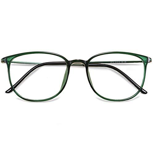 VEVESMUNDO Brillen ohne sehstärke Damen Herren TR90 Retro Rund Klassische Brillengestelle Brillenfassung Fakebrillen Deko Brille Streberbrille Nerdbrille Pantobrille mit Brillenetui (TR+Metall - Grün)