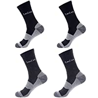 Laulax 4 Pairs Unbreakable Toe Work Socks, Size UK 7-11 / Europe 41-46, Black and Grey
