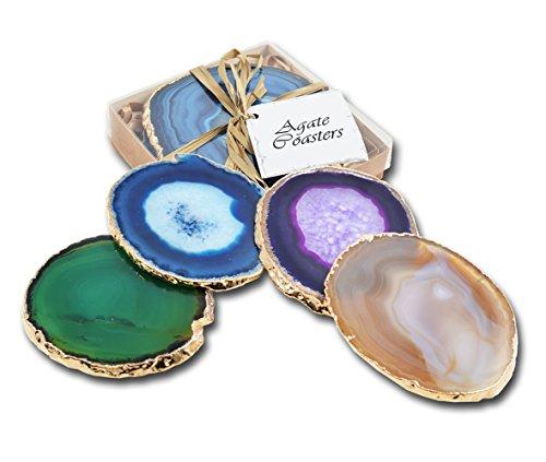 Set of 4 Gilt-Edged Agate Coasters - Mixed Set