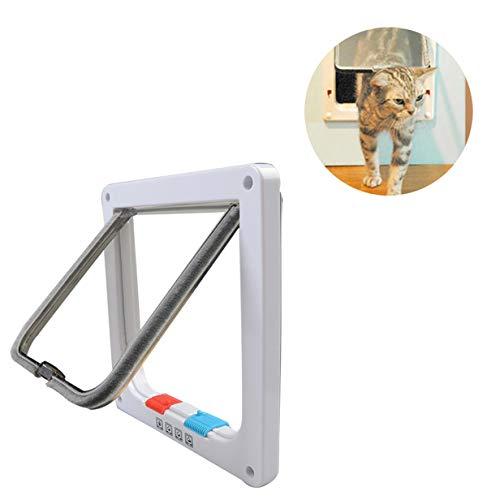Jnzr Aleta de Gato, Control Inteligente de Puertas de Mascotas 4 vías de Bloqueo Puerta de Gato Material de abs Superficie Lisa Adecuada para Perros pequeños y Gatos