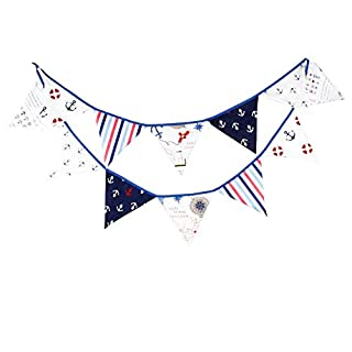 Multi Coloured Fabric Bunting For Party Birthday Wedding Anniversary Celebration Baby Shower (Anchor)