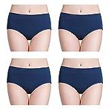 wirarpa Bragas de Algodon Mujer Braguitas Culottes Cómodo Pantalones Pack de 4 Azul Marino 40 42 44