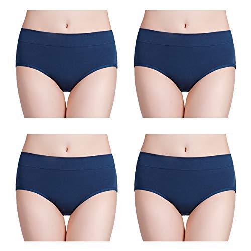 wirarpa Pantys Damen Baumwolle Unterhosen 4er Pack Frauen Unterwäsche Elastan Panties Navy Blau Größe XXL -