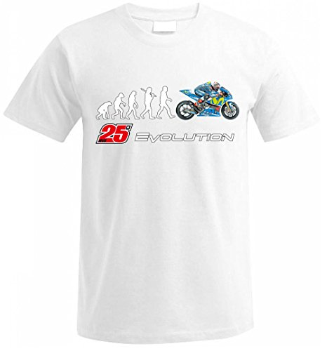 Biker EVOLUTION Yamaha M1 R1 Moto GP 25 Vinales Fan T Shirt T-SHIRT Weiß