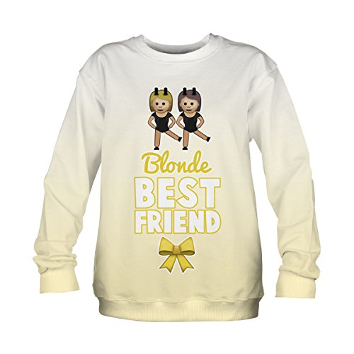 *Damen Langarm Sweatshirt Bluse Pullover Full Print S-XL Blonde best friends [038]*