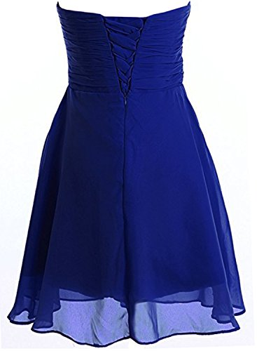 Azbro Women's Strapless Rhinestone Chiffon Short Cocktail Dress Royal Blue