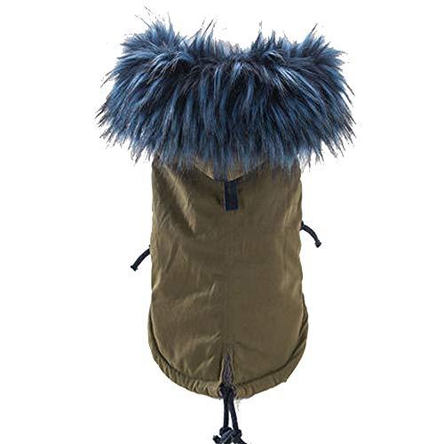 Herbst und Winter geladen koreanische Version der großen Pelzkragen Hundekleidung Teddy Vier Fuß Kleidung Haustier Welpen Verdickung freie Kombination,Blue,S