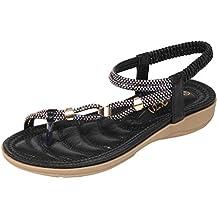 HuaMore Sandalias de Mujer, Talla Grande, Bohemio, Zapatos de Playa de Strass Planas