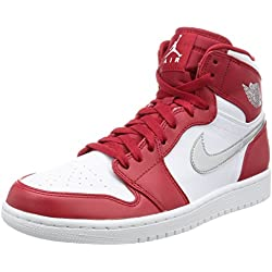 Nike Air Jordan 1 Retro High - Zapatillas de baloncesto Hombre, Rojo (Gym Red / Metallic Silver-White), EU 42 (US 8.5)