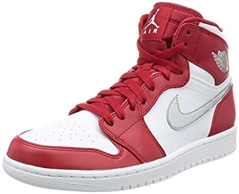 Nike Herren Air Jordan 1 Retro High Hightop Sneaker, Rot/Silber,