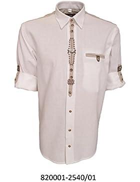 Trachtenhemd für Lederhosen mit Stickerei weiß