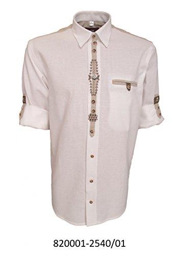 Trachtenhemd für Lederhosen mit Stickerei weiß, Hemdgröße:2XL
