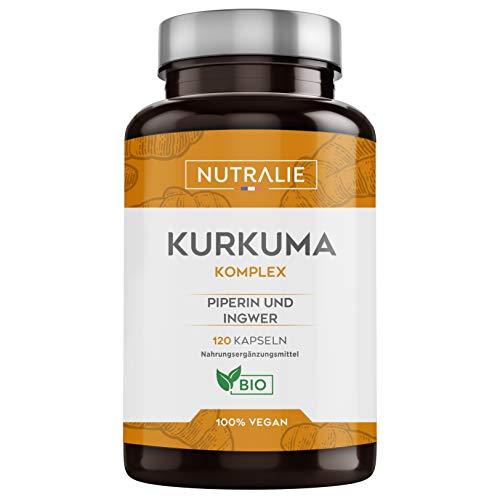 Kurkuma Bio 100% Natürliche | Optimale Kombination aus Kurkuma und schwarzem Pfeffer | 120 vegane Kapseln mit hoher Absorption aus Kurkumin, Ginger und Piperin | Kurkuma Komplex | Nutralie