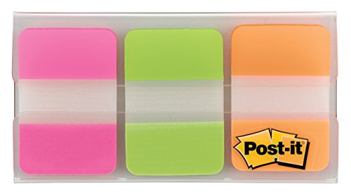 """Trial Tabs, 1"""", 36/PK, Pink, Orange, Green, Sold as 1 Package"""