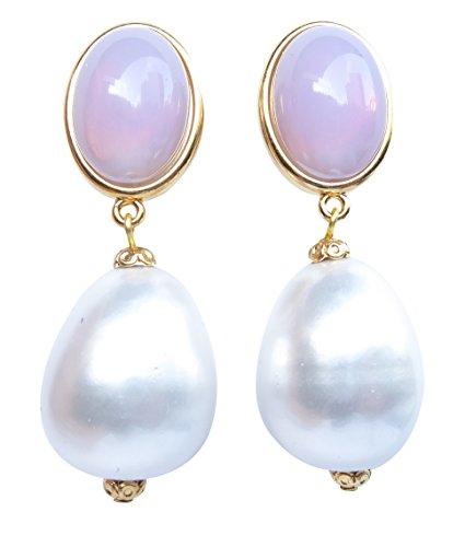 Auffällig: Sehr große leichte Ohr-Clips vergoldet Stein hell-lila Anhänger Perle weiß Tropfen Statement Fashion Glamour Designer ()