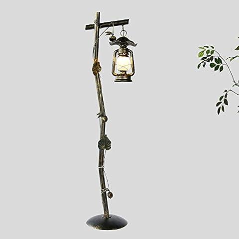Lampadaire Lanterne de grange Éclairage de décoration de fer Lampe de verre de bonne transmission Porte épaules E27 220V 162cm Hauteur