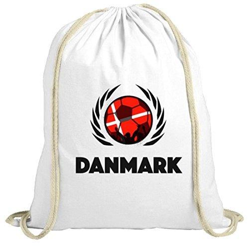 Denmark Wappen Soccer Fussball WM Fanfest Gruppen Fan natur Turnbeutel Gym Bag Fußball Dänemark weiß natur