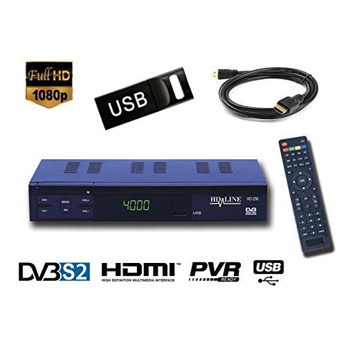 HD-LINE HD-250 + Clé USB 8Go Démodulateur Récepteur satellite HDMI et PERITEL !! FTA Décodeur Chaines gratuites - USB PVR Lecteur multimedia