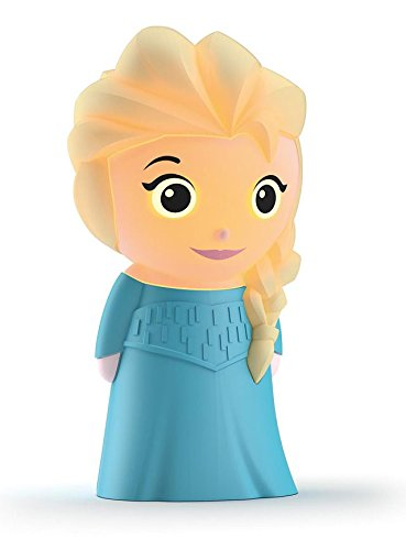 Philips Disney Elsa Frozen - Muñeco blandito luminoso con pilas, luz blanca cálida, bombilla LED de 0.18 W, color azul