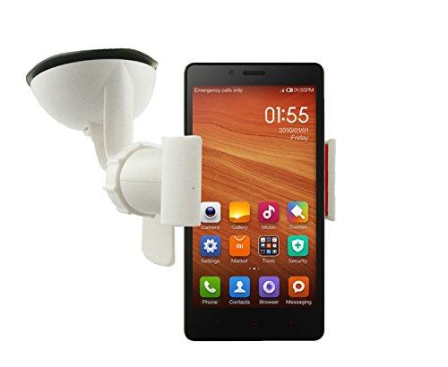 Emartbuy® Weiß Universal Handyhalterung Armaturenbrett/Windschutzscheibe geeignet für Xiaomi Rotmi 2s / Hongmi 2s (Hongmi Smartphone)