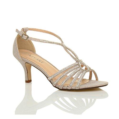 Ajvani Femmes Slim Mi-talon Avec Boucle Formelle Strap T-bar Sandales Chaussures Beige Or Nombre