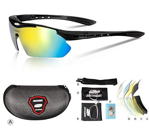 DKMMDWSSD 5 Linse polarisierte Fahrradsonnenbrille, Gebirgsstraßenfahrradschutzbrille, im Freien fischende kampierende Gläser Sportfahrradbrille, A5