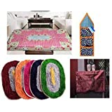 LatestHomeStore Combo Of 2 Multipurpose Mat,Centre Table Cover, Fridge Top Cover And Wall Hanging With 3 Pockets