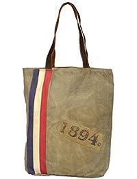 Priti Vintage Design Handbag L Tote Bag L Travel Bag In Washed Canvas & Leather
