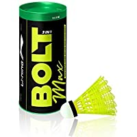 Li-Ning Bolt Max (3 in 1) Nylon Badminton Shuttlecocks (Yellow)