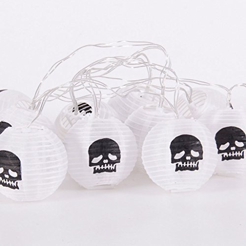 Uk Baby Kostüme Halloween Spinne (Halloween Papier Laternen Party Dekorieren Requisiten Spinne Kürbis String Lights KTV Bar LED Holiday Supplies ( Color : White Skull)