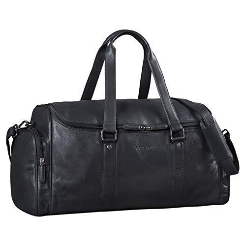 STILORD \'Myles\' Vintage Reisetasche Herren Leder Weekender zum Umhängen Overnight Duffle Bag Großes Reisegepäck XL echtes Rindsleder, Farbe:schwarz