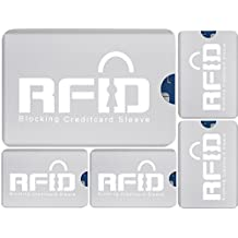 # 1 radio copertura chip RFID SET (5 x) Carta; Design Ultrasottile & Flessibile che si adatta ad ogni portafogli: Scelta n°1 per Prevenire furto di Identità, Furto di Dati, Scanner NPA e Radio RFID