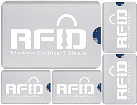 100% Protection Wireless RFID Document Safe RFID Card Case Set (5 Pieces) Identity and Data (Rullo Cover Set)