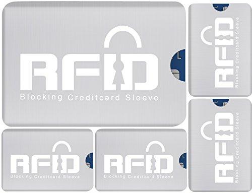 #1 Funk-Chip RFID Kartenschutzhüllen SET (5 Stück) mit 100% Schutz vor Identitäts- und Datendiebstahl, NFC & RFID Funkwellen. Ausleseschutz für Perso, EC- & Kreditkarte. Leicht & schmutzabweisend. (Stück Wallet 2 Set)