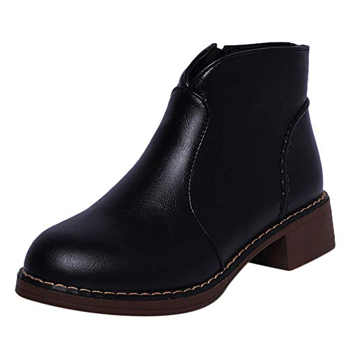 BURFLY Chelsea Boots Ankle Short Booties for Women Ladies, Girls Low Chunky Heel School Shoes Casual Oxfords, Size 3-5.5 UK