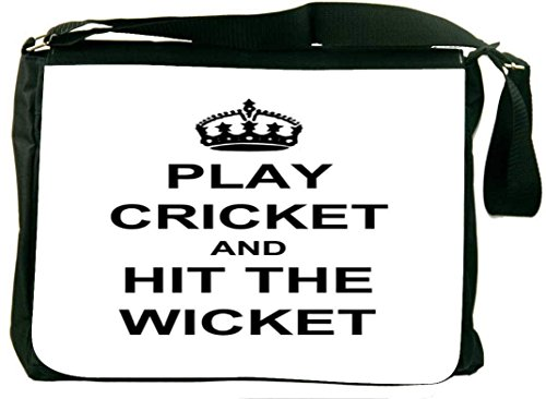 Snoogg Play Cricket And Hit Wicket White Laptop Messenger Bag