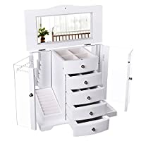 SONGMICS JBC57W Large Wooden Jewellery Box with Clear Acrylic Door 4 Drawers White Country House