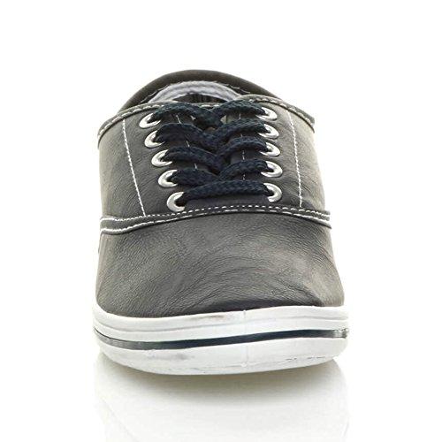 Sneaker Da Uomo In Tela Di Tela Piatta Sneaker In Pizzo Blu Navy Opaco