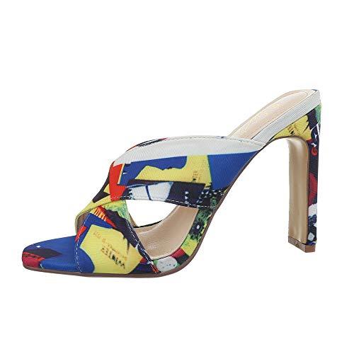 Ital-Design Damenschuhe Sandalen & Sandaletten Pantoletten Synthetik Gelb Multi Gr. 38 (Gelbe Schuhe Mit Absätzen Für Frauen)