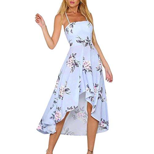 leid Elegant Ärmellos Chiffon Casual Strandkleid Womens Holiday Plunge Maxi langen Sommer Blumendruck Strandkleid (S) (Vintage Holiday Kostüme Schmuck)