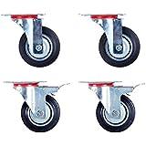 Alsino 4er Set 100 mm lenkbar Transportrollen 2x Lenkrollen 2x Lenkrollen mit Bremse